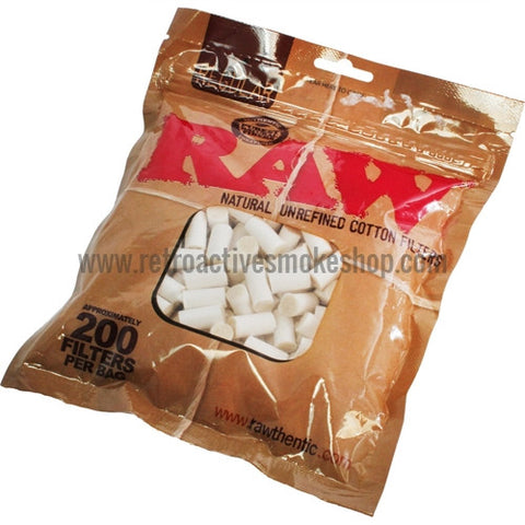 Raw Natural Unrefined Cotton Filters (200ct) - Retro Active Smoke Shop