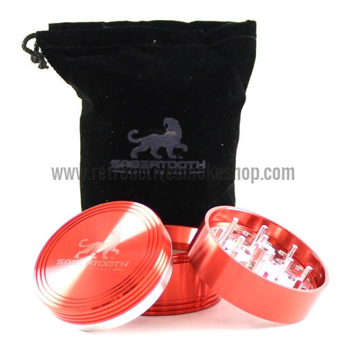 "Sabertooth Premium 2.2"" 4 Stage Grinder - Cherry - Retro Active Smoke Shop  - 1"