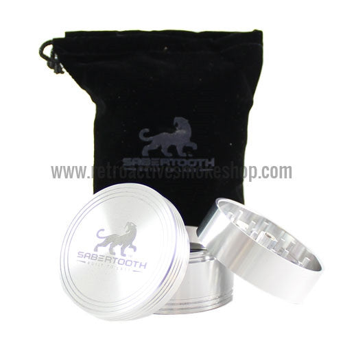 "Sabertooth Premium 2.2"" 4 Stage Grinder - Silver - Retro Active Smoke Shop  - 1"