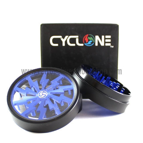 "Sabertooth 2.5"" Cyclone Solid Bottom Grinder - Blue - Retro Active Smoke Shop  - 1"