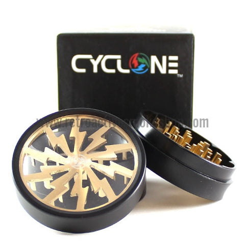 "Sabertooth 2.5"" Cyclone Solid Bottom Grinder - Gold - Retro Active Smoke Shop  - 1"
