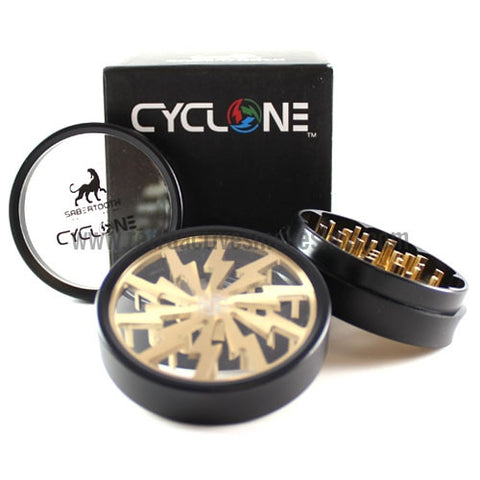 "Sabertooth 2.5"" Cyclone Clear Bottom Grinder - Gold - Retro Active Smoke Shop  - 1"