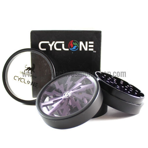 "Sabertooth 2.5"" Cyclone Clear Bottom Grinder - Purple - Retro Active Smoke Shop  - 1"