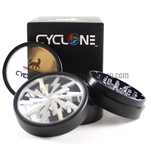 "Sabertooth 2.5"" Cyclone Clear Bottom Grinder - Silver - Retro Active Smoke Shop  - 1"