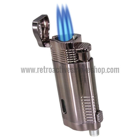 Vector Trimax Triple Jet Torch Lighter - Titanium Satin - Retro Active Smoke Shop
