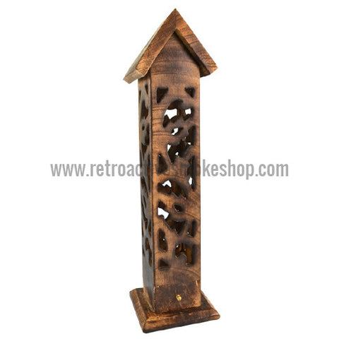 "RASS 12"" Carved Wood Incense Burner Tower w/ Roof Top - Retro Active Smoke Shop  - 1"