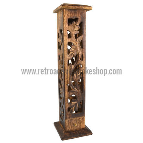 "RASS 12"" Carved Wood Incense Burner Tower - Retro Active Smoke Shop  - 1"