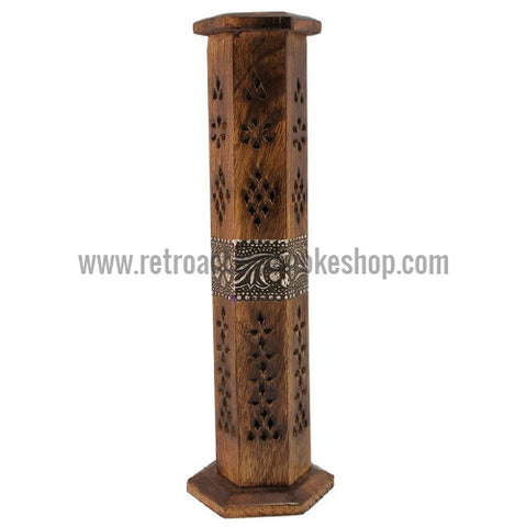 "RASS 12"" Wood Incense Burner Tower w/ Metal Design - Retro Active Smoke Shop  - 1"