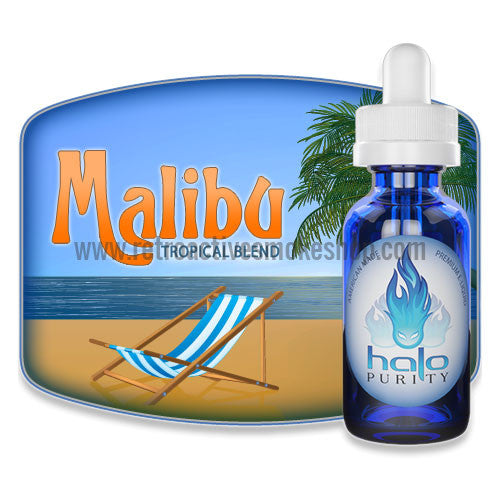 [product type] - (CLEARANCE) Halo Premium E-Liquid Malibu - 10ml - 0mg/ml - Retro Active Smoke Shop