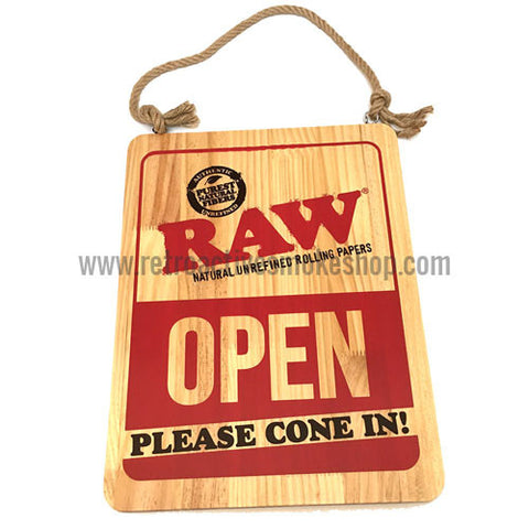 RAW Rolling Papers Open/Closed Wooden Sign - Retro Active Smoke Shop  - 1