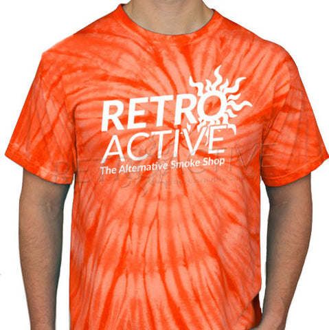 Retro Active Smoke Shop Orange Tie-Dye T-Shirt