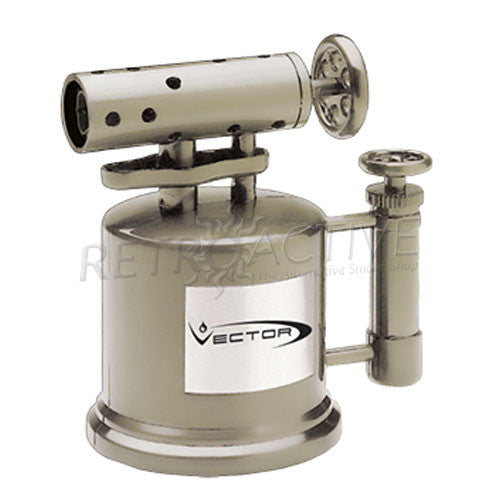 Vector Tabletop Mega Pump Torch Lighter - Nickel Satin - Retro Active Smoke Shop