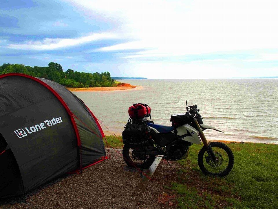How to Properly Load Motorcycles When Camping: 6 Considerations- photo by Lone Rider MotoTent v2 customer