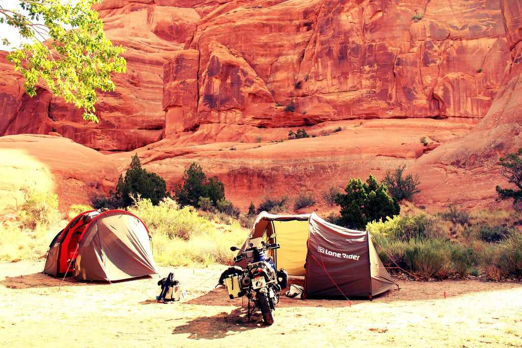 CREATE A MORE COMFY CAMPING SPACE | 9 TIPS - photo by Lone Rider MotoTent v2 customer
