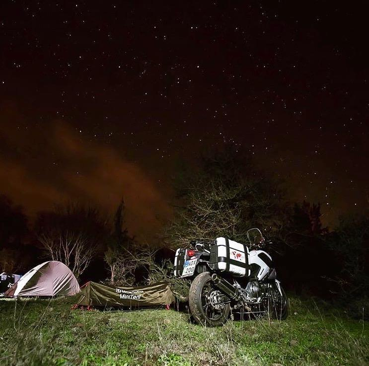 Motorcycle Camping: Weather Preparation Tips - photo by Lone Rider MotoTent v2 customer
