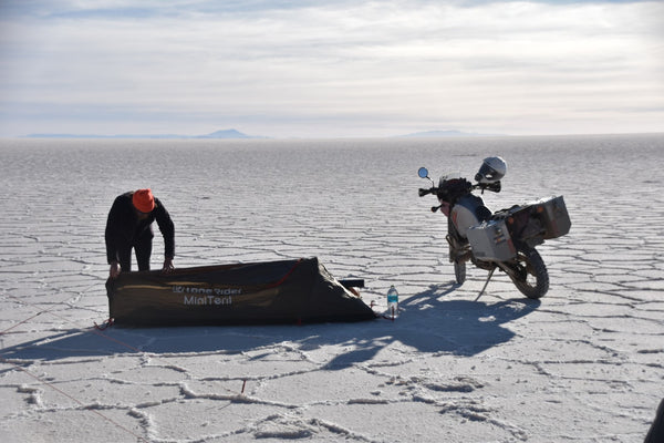 MiniTent and KLR650 in the Bolivian Salt Flats