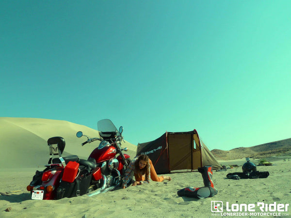 TOP 20 RIDING & CAMPING GEAR TIPS FOR ADV MOTORCYCLISTS - photo by Lone Rider MotoTent v2 customer