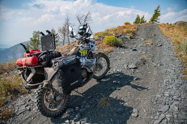 My MotoBags-equipped Omega 701 in the backcountry of Idaho.