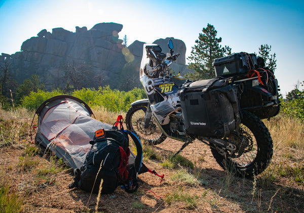 My Lone Rider MiniTent and MotoBags-equipped Omega 701 at my camp in Southern Wyoming.