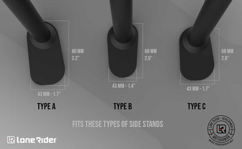 Lone Rider Side Stand extension fitting sizes