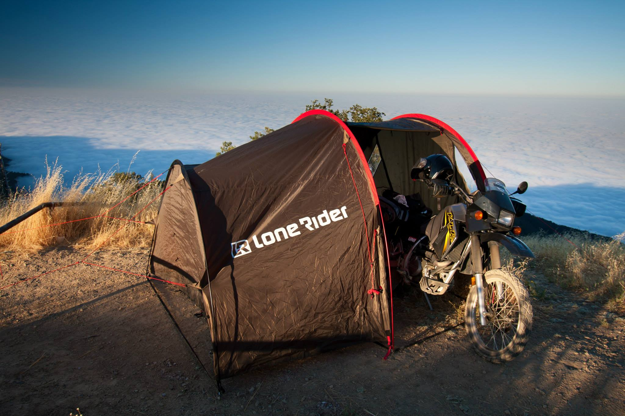Motorcycle camping tips - photo by Lone Rider MotoTent v2 customer