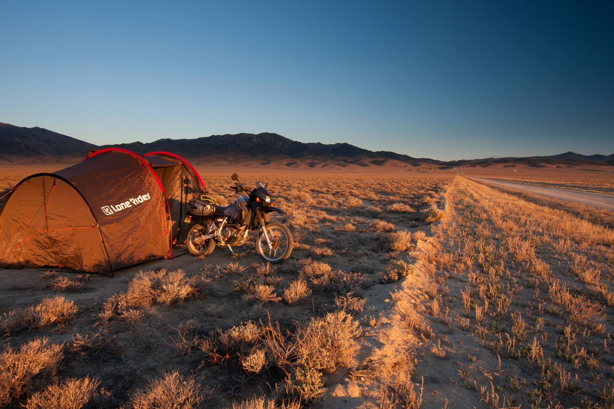 Wild leave no trace motorcycle camping - photo by Lone Rider MotoTent v2 customer