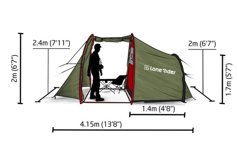 Motorcycle tent - dimensions - side view
