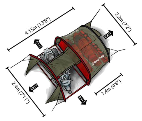 Motorcycle Tent - dimensions - top view