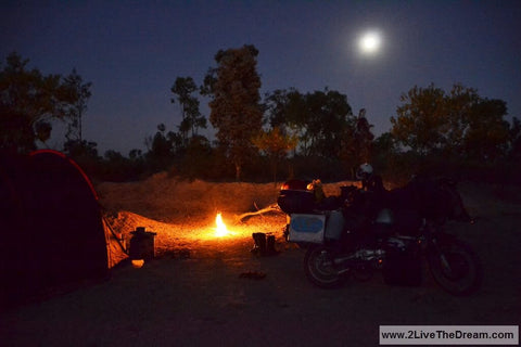 Top 15 Motorcycle Camping Hacks - photo by Lone Rider MotoTent v2 customer