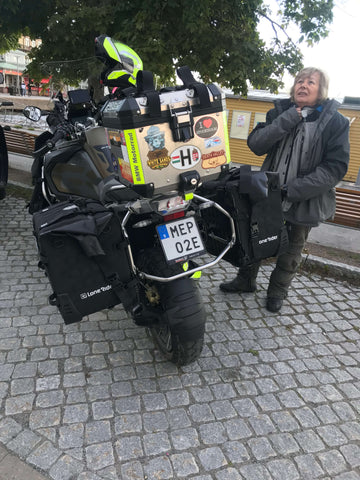 Zsolt Somogyi  with her Lone Rider MotoBags