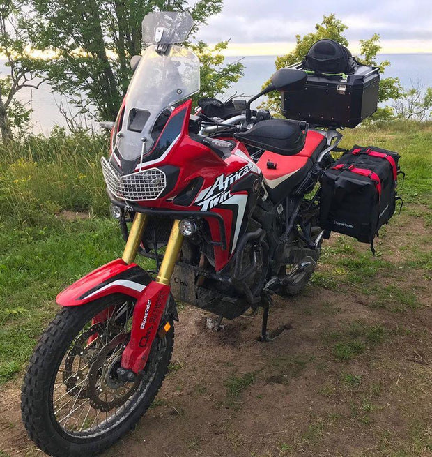 MotoBags orange straps on Honda CRF1000L Africa Twin
