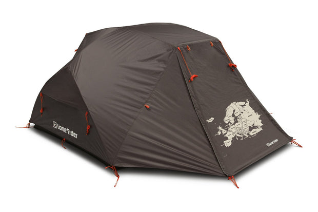 Motorcycle Adventure Tent with map of Europe and Asia