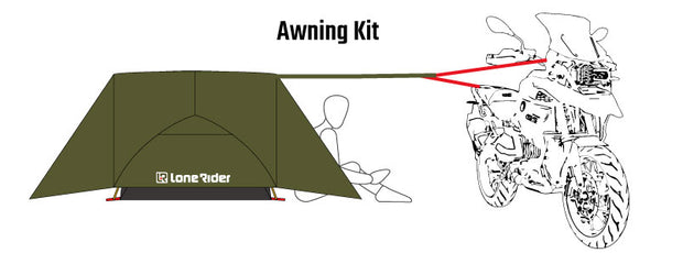 Awning kit for the Motorcycle tent ADVtent Lone Rider 2 person tent
