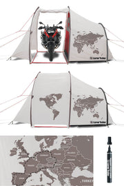 Motorcycle tent with map of Europe