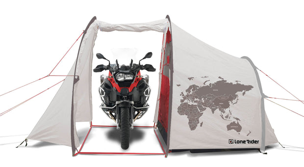 Motorcycle Tent with BMW R 1200 GS inside