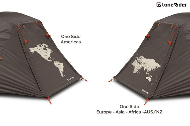 ADV Tent Outer Tent. Green fabric. World Map printing.