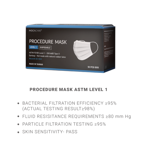 Mocacare ASTM Level 1 Mask, Made in Taiwan, 50PC/Box