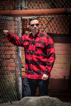 415 Embroidered Men's Fleece Lined Flannel Shirt
