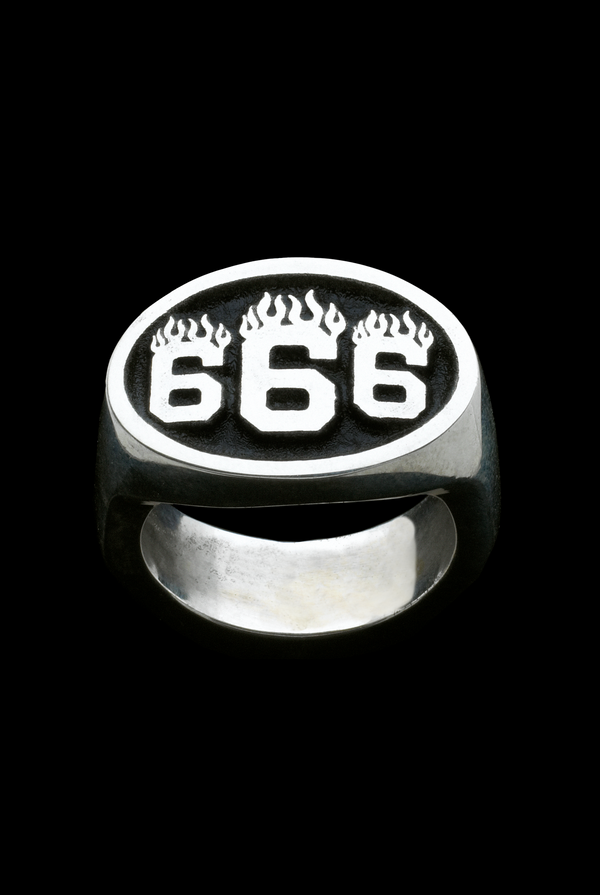 666 Sterling Silver Ring