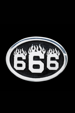 666 Sterling Silver Pin
