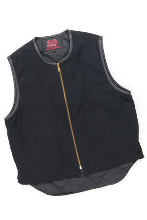 Leather Trimmed Canvas Vest