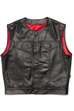 415 Leather Club Style Snap Vest (No Collar)