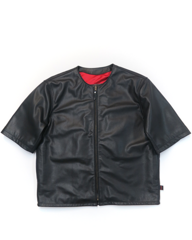 415 Leather Original 3/4 Sleeve Chop Jacket with Zipper (No Collar)