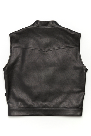 415 Leather Club Style Snap Vest (With Collar)
