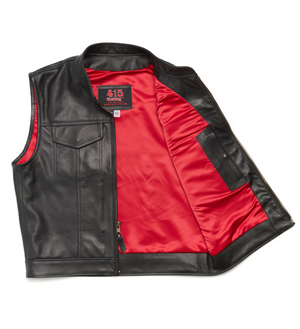 415 Leather Club Style Zipper Vest (With Collar)