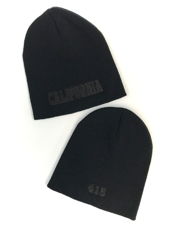 California Black on Black Knit Beanie Cap