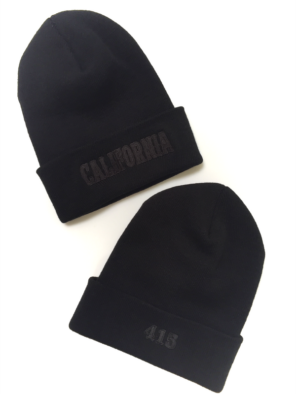 California Black on Black Cuffed Knit Beanie Cap