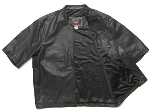 415 Leather 3/4 Sleeve Perforated Jacket