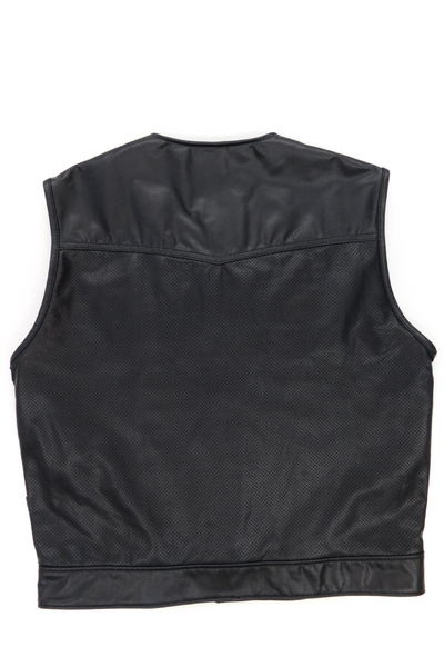 415 Leather Perforated Club Style Vest with Snaps