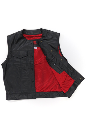 415 Leather Perforated Cowhide Club Style Vest with Snaps